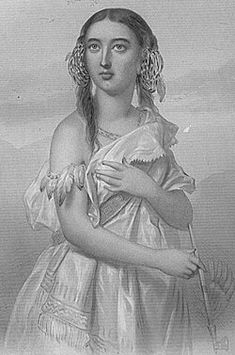 Pocahontas because she left her home and family to keep peace between the settlers and indians which was extremely brave.