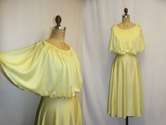 X Large Vintage Dress  1970s Yellow Lemon Grecian Goddess Flowing summer dress by SIZEisJUSTaNUMBER