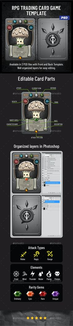 RPG Trading Card Game Template by bevouliin | GraphicRiver Trading Card Template, Flyer Template, Trading Cards, Mushroom Images, Game Ui Design, Pixel Size, Art Prompts, Corporate Flyer, Game Assets