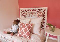 Suzie: EM Design Interiors - Adorable girl's bedroom with West Elm Morocco Headboard, coral ...