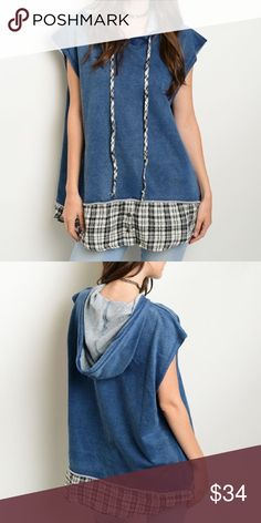 "Oversized Lightweight Denim Top Denim oversized vest features plaid trim and drawstring detail. Made from 95% Cotton 5% Spandex.  Measures for small:  Length 31"" Bust: 46"" Tops"