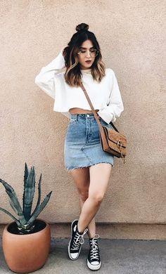 casual denim mini skirt and converse
