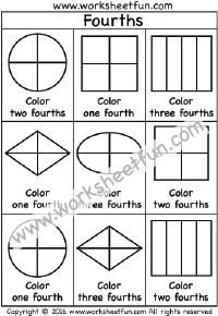 Fractions – Fourths – Coloring – One Worksheet / FREE Printable Worksheets Math Fractions Worksheets, Learning Fractions, Kindergarten Math Worksheets, Fun Worksheets, School Worksheets, Free Printable Worksheets, Math Activities, Math Journals, Coloring