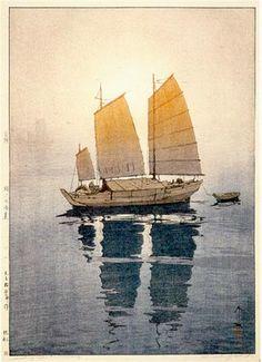 Sailing Boats, Morning  by Hiroshi Yoshida, 1926 -- the glowing fabric sails make this glow believable