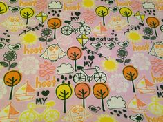 Large Baby Swaddle Blanket, Baby Receiving Blanket, Hooting Owls, Nature, I Love Bicycles,Pink, Yellow, Green, Baby Shower Gift  on Etsy, $16.50