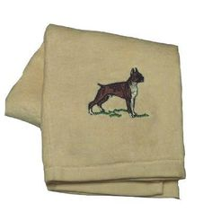 Cotton Terry Cloth Dog Hand Towel with Embroidered Boxer