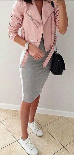 #summer #outfits Pink Jacket + Grey Bodycon Dress + White Pumps