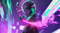 1920x1080 Neon Samurai Cyberpunk 1080P Laptop Full HD Wallpaper, HD Artist 4K Wallpapers, Images, Photos and Background