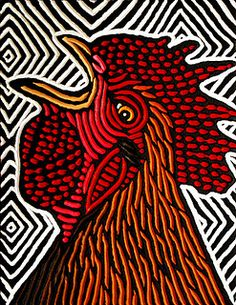 rooster crowing by Lisa Brawn, via Flickr
