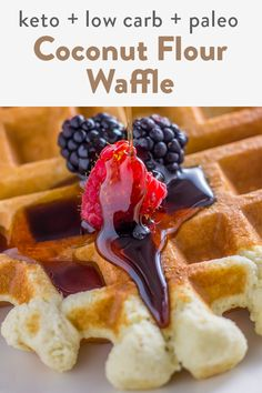 These waffles are made with coconut flour only in this recipe. They are quick and easy and takes 5 minutes to whip together. Not only are they healthy but they are perfect for keto, low carb and even paleo diets! Coconut Flour Waffles, Almond Flour Desserts, Coconut Flour Recipes, Sugar Free Desserts, Dessert Recipes, Breakfast Recipes, Best Waffle Recipe, Waffle Recipes, Best Gluten Free Recipes