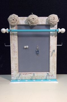 Jewelry frame, jewellery organizer, earring frame, Jewelry storage, vintage inspired or shabby chic decor, girl gift, tween gift