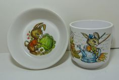 Vintage Set Oneida Deluxe Childs Melamine Bowl & Cup Mug Peter Rabbit Bunny 3258