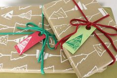 Gift wrap Christmas tree wrapping paper kraft- 3 sheets shown in white with yarn and tags. $8.00, via Etsy.