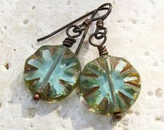 20% off  Aqua Blue Glass Earrings Picasso Czech by BonArtsStudio
