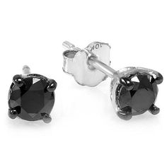 0.33 Carat (ctw) 10k White Gold Ladies Round Black Diamond Stud Earrings 3 mm wide 1/3 CT >>> See this great product.