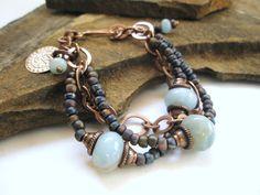 Gemstone Bracelet, Amazonite, Czech Beads and Copper Bracelet in Blues. $55.00, via Etsy.