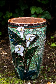 Glass fused planter by Janet Schrader