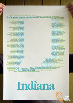 Indiana State Typographical Poster