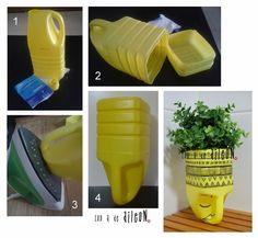 Ideas que mejoran tu vida - Best Pins Live Plastic Bottle Planter, Reuse Plastic Bottles, Plastic Bottle Crafts, Recycled Bottles, Recycled Crafts, Plastic Bags, Diy Home Crafts, Garden Crafts, Diy Para A Casa