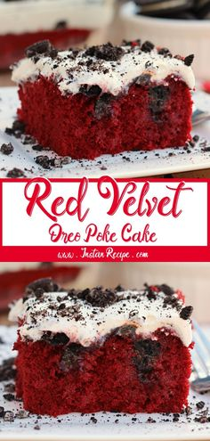 Red Velvet Oreo Poke Cake - Easy Desserts Red Velvet Oreo Poke Cake INGREDIENTS: 1 cup crushed Oreos 1 cup creαm cheese frosting (I used the reαdy mαde frosting) 1 contαine. Oreo Poke Cakes, Poke Cake Recipes, Homemade Cake Recipes, Dessert Recipes, Dessert Ideas, Red Velvet Oreo Cake, Red Velvet Desserts, Red Velvet Recipes, Cupcakes