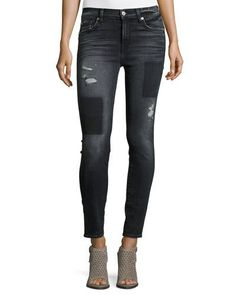 TDEBN 7 For All Mankind The Ankle Skinny Jeans w/Clean Patches, Black Shadow