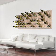 Wand-Weinregal Estaba in Birnbaum - in diesem Designerstück schweben Ihre Weinflaschen