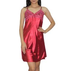 Womens Sexy Silk Gorgeous Sleepwear Dress Nightgown Dark Red Size SM    Click on the image d9e810df4
