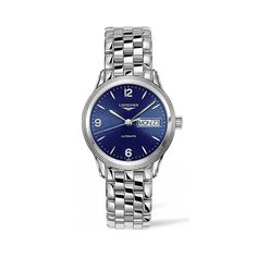 Longines Flagship blue dial day/date automatic watch.