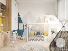 Colourful Interiors With Connection: Green, Coral, Blue & Yellow Decor