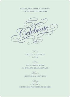 Bridal Shower Invitation. Pale Mint. @Emily Cleary ...Love this!