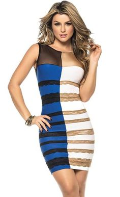 Colorblock Sexy Bodycon Dress