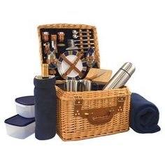 Product: Basket2 Plates 2 Wine glasses  2 Forks2 Knives 2 SpoonsCheese knife Cutting board  Corkscrew Bottle stopper  Salt and pepper shaker 2 Napkins Insulated wine duffel Zipper-top cooler 2 Food storage containers Vacuum flask  2 Coffee mugs Fleece blanket Construction Material: Willow, stainless steel, glass      Shipping: This item ships small parcelExpected Arrival Date: Between 04/12/2013 and 04/20/2013Return Policy: This item is final sale and cannot be returned