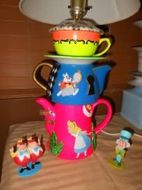 Hand-Painted Alice in Wonderland Teapot/Teacup Lamp - with Decoupaged Top in Card Fabric and Clay