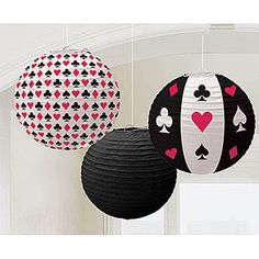 This set of three Casino Printed Lanterns will come with 2 patterned and 1 solid black lanterns. These lanterns are made of paper and measure 9.5 inches.