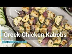 These Greek Chicken Kabobs are loaded with flavorful chicken, zucchini and red onion! At only net carbs per serving this is a low carb keto friendly dinn. Chicken Kabob Marinade, Greek Chicken Kabobs, Healthy Dinner Recipes, Low Carb Recipes, Cooking Recipes, Tasty Meals, Mediterranean Diet Salmon Recipe, Mediterranean Dishes, Salmon Recipes