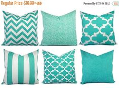 Beau Indoor Outdoor Pillow Covers   Aqua Pillow   Teal Pillow Cover   Patio  Pillow   Turquoise Pillow Cover   Outdoor Pillows   Deck Pillows