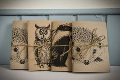 Eco Recycled Hedgehog Notebook plain by IsabelDesign on Etsy