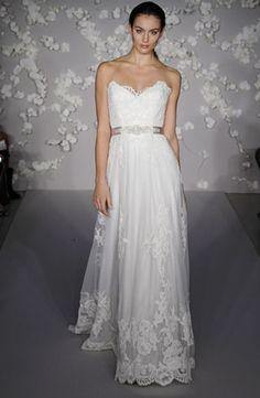 Bridal Gowns: Lazaro Sheath Wedding Dress with Neckline and Natural Waist Waistline