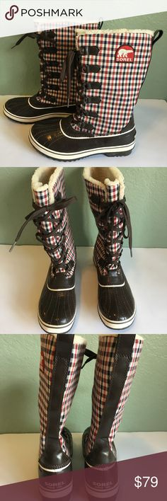 Sorel Snow Boots Sorel Snow Boots ~ Boots are Brown With Red & Blue Gingham Print ~ Size 9 ~ Excellent Condition Sorel Shoes Winter & Rain Boots