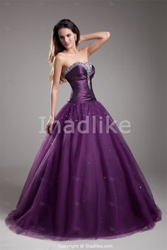 Purple Taffeta/Tulle Sweetheart Ball Gown Floor Length Beading Prom Dress 2014 -Special Occasion Dresses
