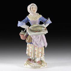 Meissen Porzellan Pariser Ausrufer  Fischverkäuferin , Modell-No. 11