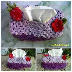Crochet Tissue Cover Box with red strawberry :D
