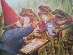 Gnome conducting the frog choir. Woodland Creatures, Fantasy Creatures, Fairy Land, Fairy Tales, Baumgarten, Humanoid Creatures, Vintage Postcards, Faeries, Cute Drawings