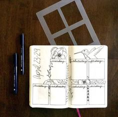 Rectangle Weekly Spread Bullet Journal Stencil for Travelers Notebook Leuchtturm Moleskine Field Notes Planner by Moxiedori April Bullet Journal, Bullet Journal Spread, Bullet Journal Layout, Bullet Journal Inspiration, Bullet Journal Quotidien, Crea Design, Bullet Journal Stencils, Weekly Spread, Travelers Notebook