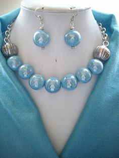 Chunky Ceramic Vintage Baby Blue Irridescent by DesignsbyPattiLynn, $55.00