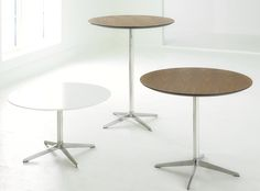 FC12260B FC FOUR Resting Table - Round Polished Aluminum Base. Wilsonart D354-60 Designer White Laminate top D 31.5 x H 28.5