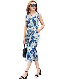 7ac9e984b579 MedeShe Womens Sexy V Neck Print Flower jumpsuit Boho chiffon Wide Leg  Pants playsuit US 12 BlueWhite Floral --    AMAZON BEST BUY