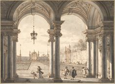View through a Baroque Colonade into a Garden, 1760-68,  Canaletto /  Pen and brown ink, black-gray wash in two tones, partly visible perspective construction lines in black pencil / Albertina, Vienna