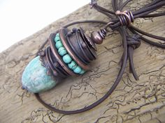 Amazonit Pendant with Copper by annamei on Etsy