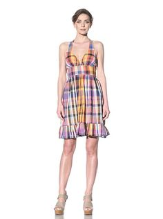 French Connection Women's Hippy Voile Check Halter Dress at MYHABIT